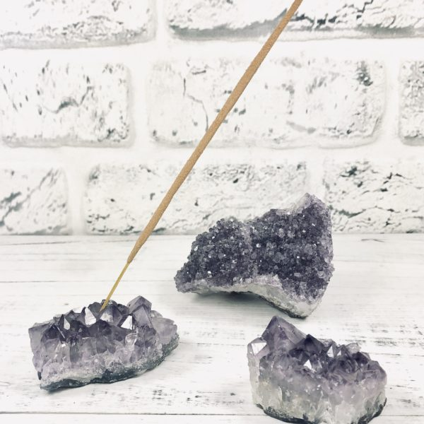 Lucky Nibs Amethyst Crystal Cluster Incense Holder and Incense Gift Set