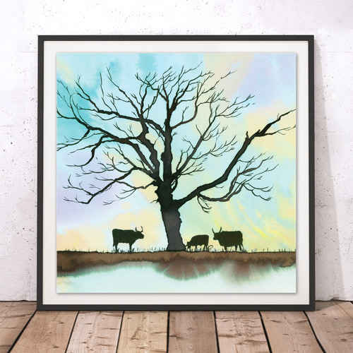 Longhorns limited edition watercolour print 45cm x 45cm