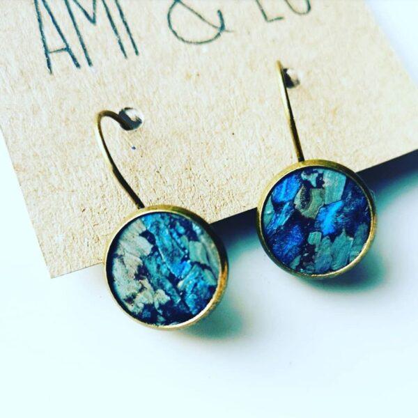 Ocean ripple drop stud earrings, Ami and Lo, Cork Leather