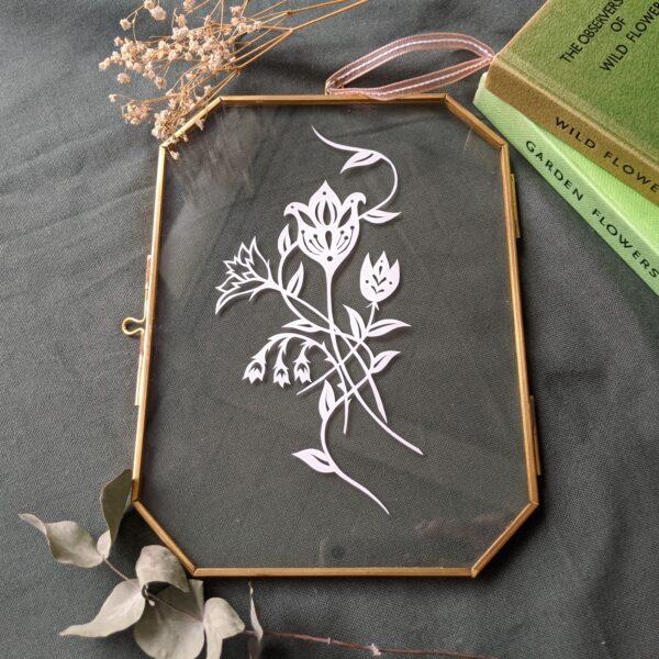 Folk style flower papercut wall art
