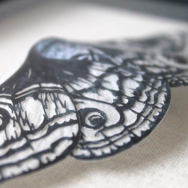Moth sculpture, paper entomology