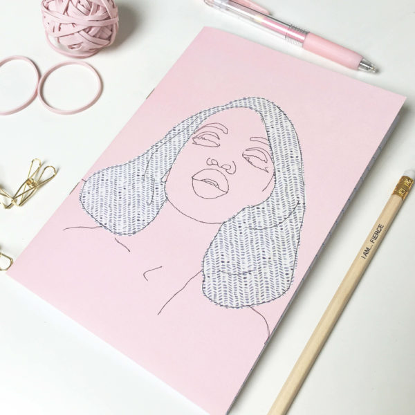 Loaf and Bear - soft pink notebook with print of embroidered illustration of fierce black woman