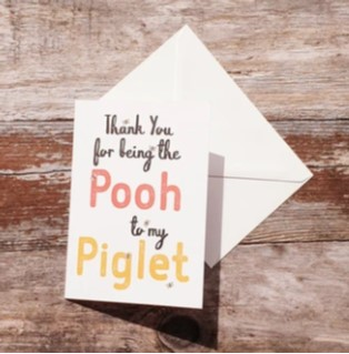Pooh Love Card, Daffodowndilly. Pedddle.