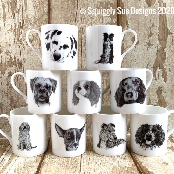squigglysuedesigns doggy doodle dog sketch bone china mugs