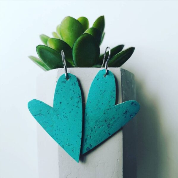 Turquoise cork leather hearts by Ami and Lo