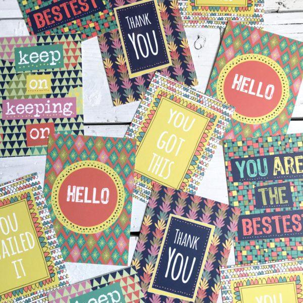 Anna Treliving Design Bright Patterned Motivational Postcards