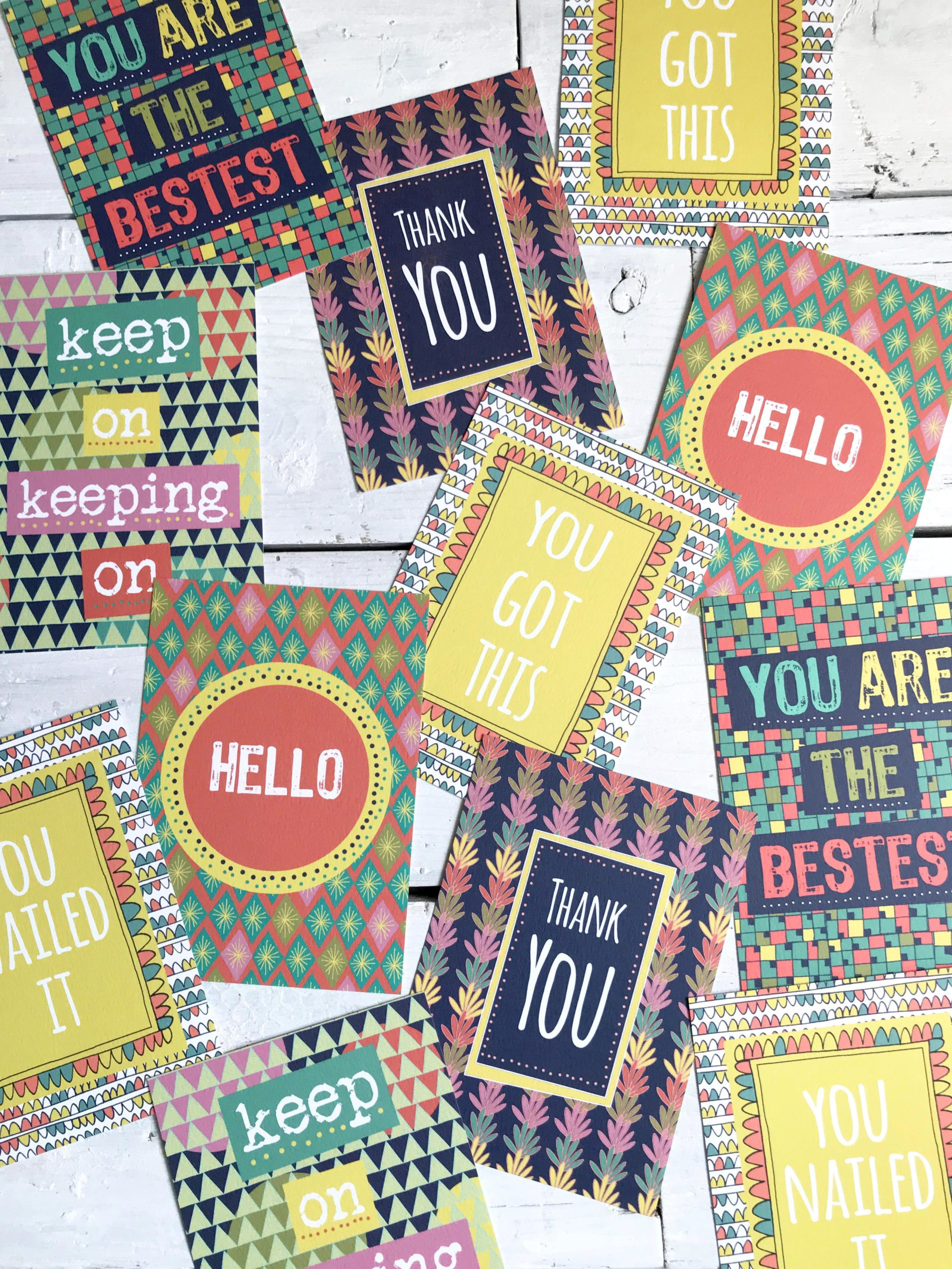 Anna Treliving Design Bright Patterned Motivational Postcards