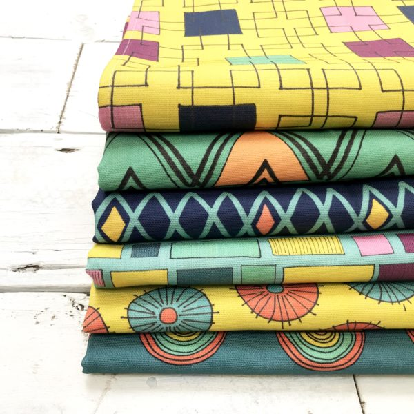 Anna Treliving Design, colourful patterned Tea Towels. 6 contrasting bold geometric designs