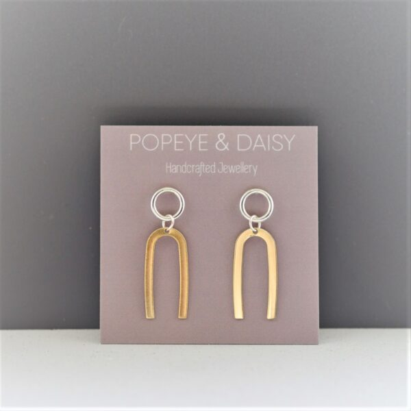 Popeye & Daisy Earrings, Sterling Silver & Brass, Pedddle