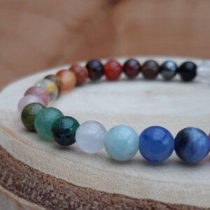 Close up of mini multi chakra bracelet