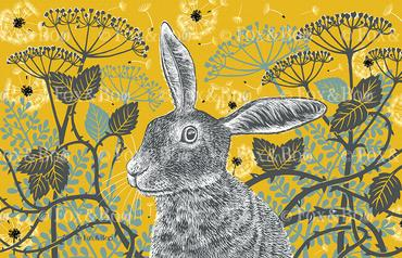 Hare mustard tea towel, Becky Adams. Pedddle