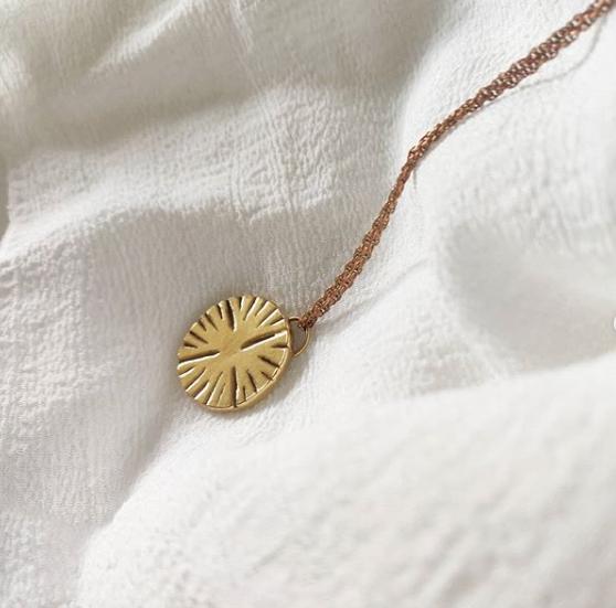 Handmade gold plated Moroccan sun coin pendant, Jodie Fern Jewellery