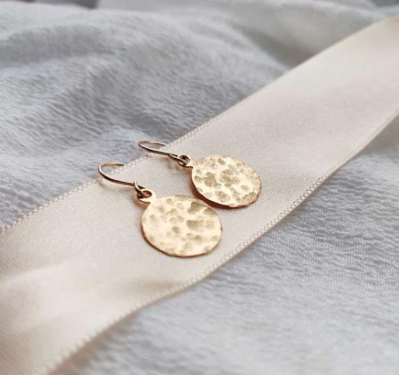 Handmade filled gold hammered disc earrings, Jodie Fern Jewellery