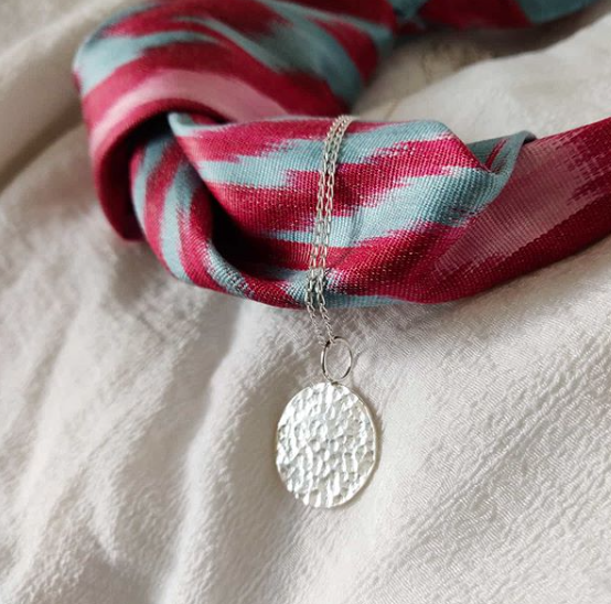 Handmade hammered sterling silver coin pendant, Jodie Fern Jewellery