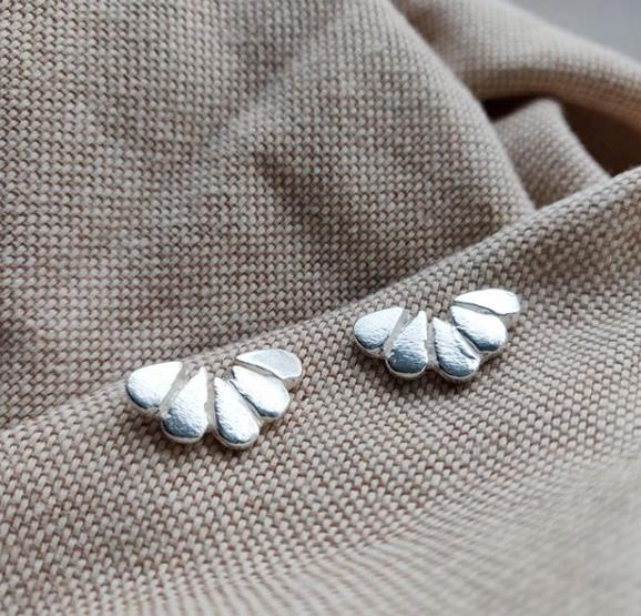 Handmade recycled sterling silver Moroccan teardrop earrings, Jodie Fern Jewellery
