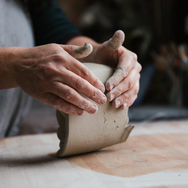 Lorna Gilbert Ceramics, preparing clay, studio