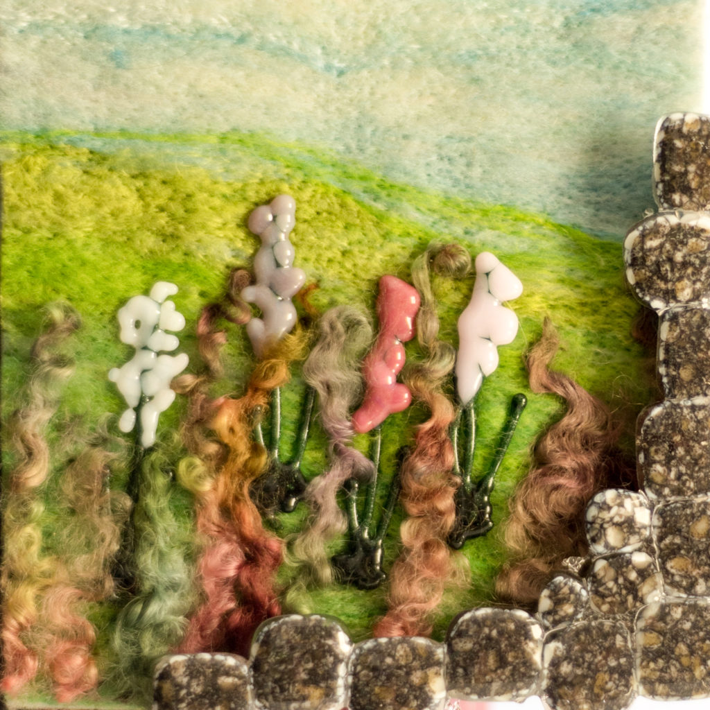 fused glass and felt mixed media picture