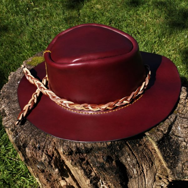 Hand made leather bush hat