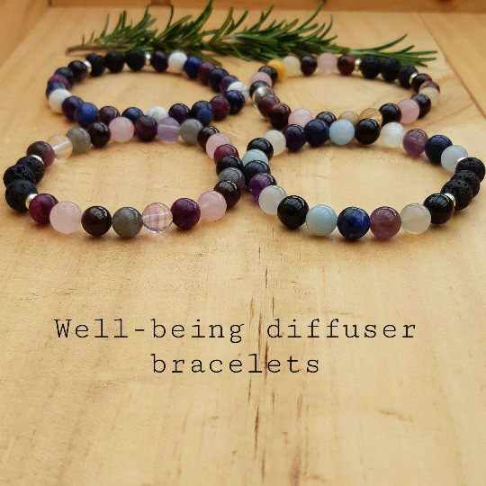 Well-being diffuser bracelets, 4 different crystal diffuser bracelets by The Sage Tree Studio