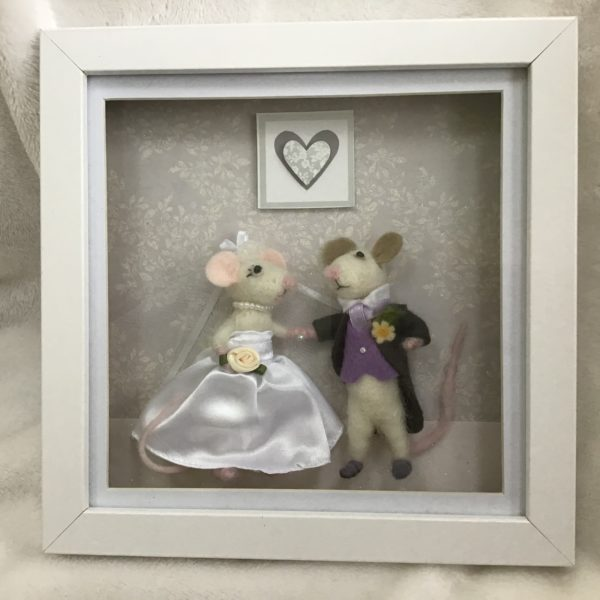 Mouse wedding 3D box frame picture
