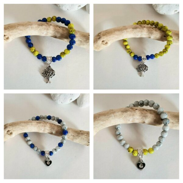Knots and treasures, beaded bracelets with heart charms and tree charms