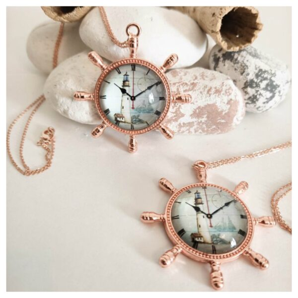 Knots and Treasures, Boat Wheel Nautical rose gold necklace
