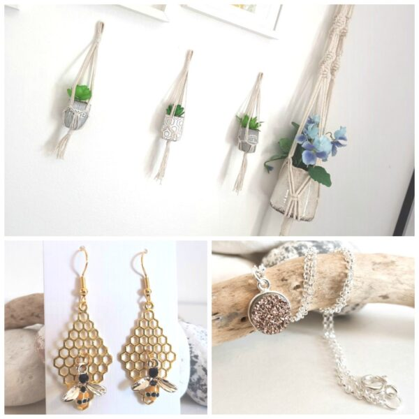 Knots and treasures, macrame plant hangers, bee earrings and sterling silver druzy necklace