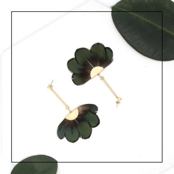 Metropolitan Green Lady Amherst Feather Fan Pendant Earrings in Matte Gold