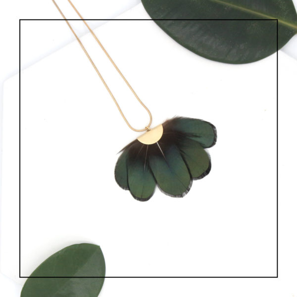 Metropolitan Green Lady Amherst Feather Fan Necklace with Matte Gold Snake Chain