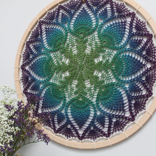 Pineapple Fibre Art, Peacock coloured crochet wall art