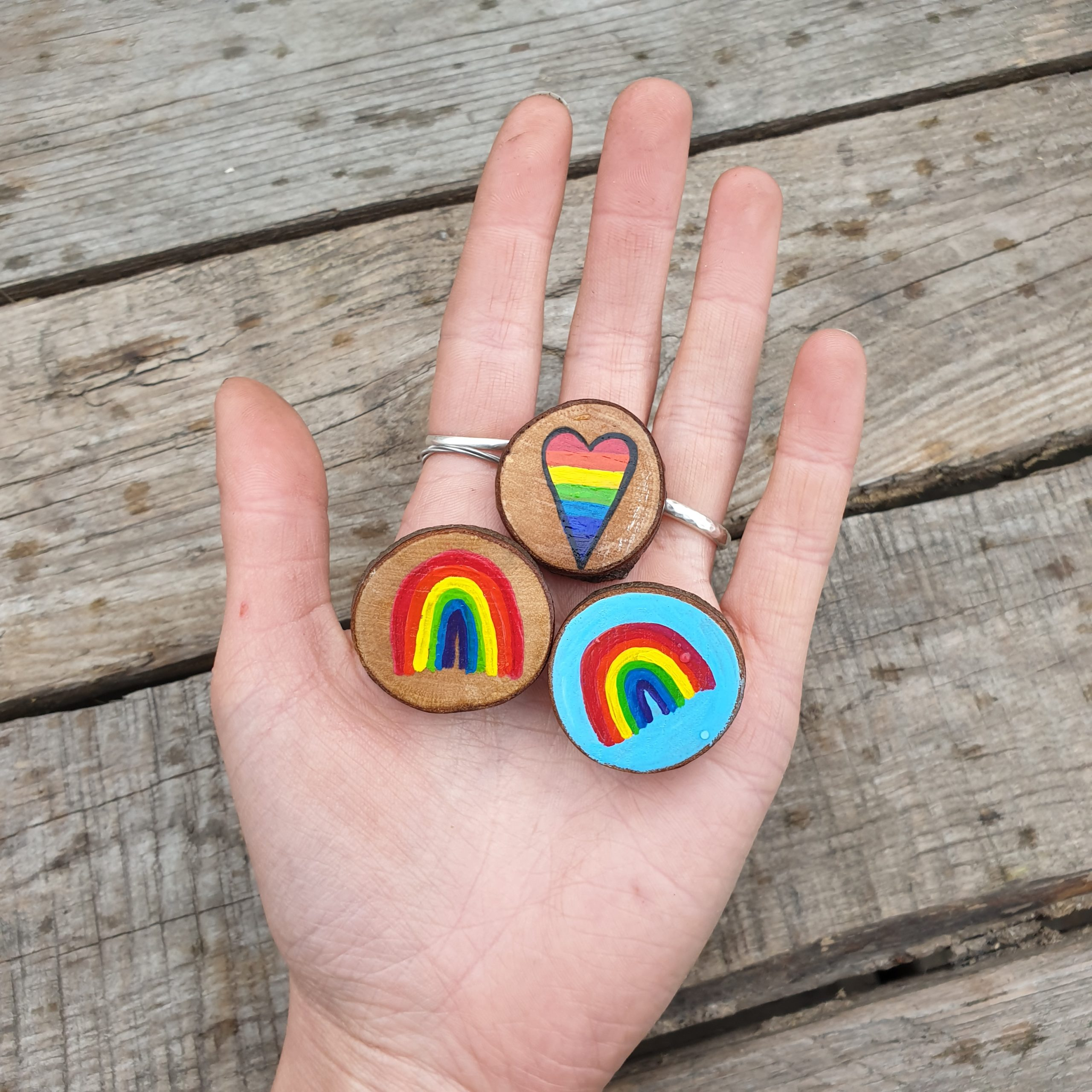 Sophias Illustration, Handmade Small Wood Slice Rainbow Brooch Pin Badge