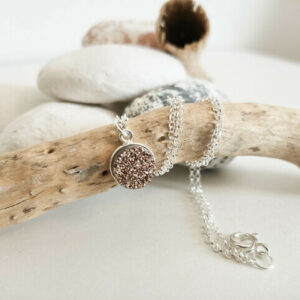 Knots and Treasures, sterling silver copper druzy pendant necklace