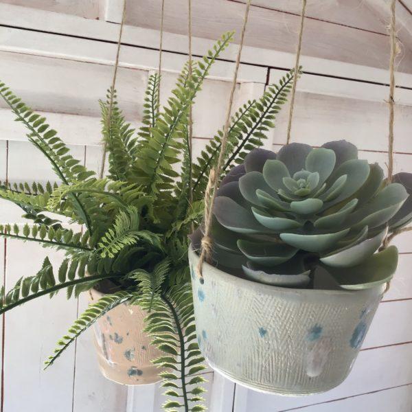 Karin findell ceramics, Hanging garden plant pots from Etsy.com/uk/shop/karinfindell pastel blue and peach for plants