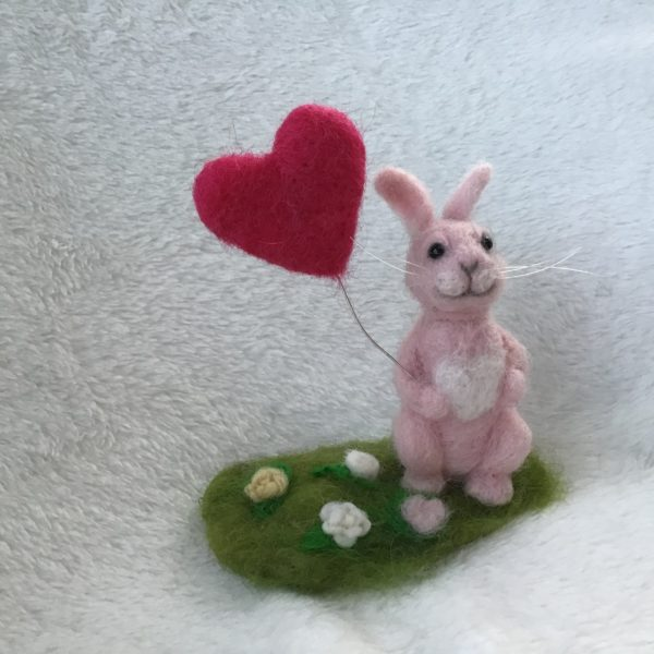 Needle felted Pink Rabbit holding a heart shaped balloon, free standing ornament