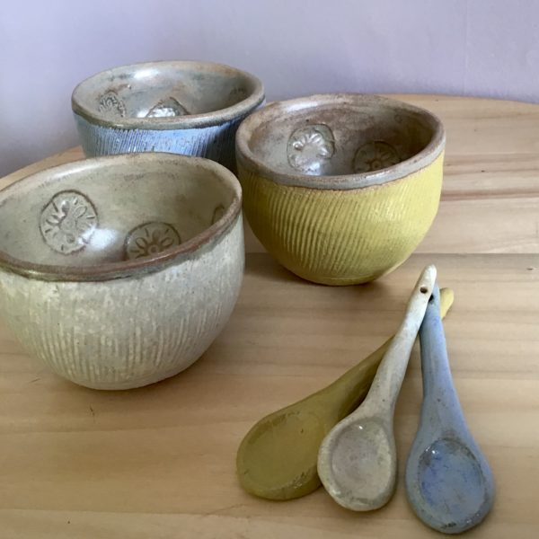 Karin findell ceramics, Small pot and spoon available on Etsy.com/uk/shop/karinfindell in three colours