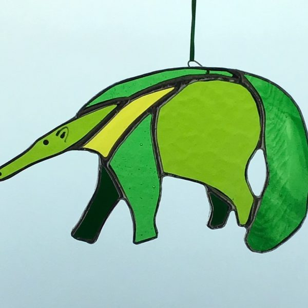 Sarah Davis Glass Green stained glass anteater hanging copper foiled