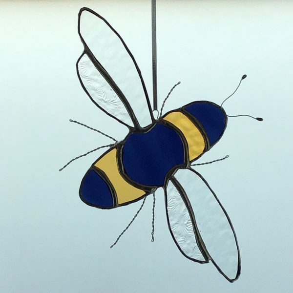 Sarah Davis Glass be stained glass hanging yellow and dark blue with clear wings