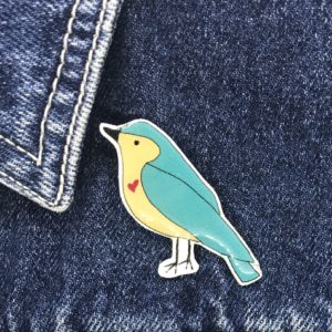 Sister Sister, Handmade Love Bird Pin / Badge