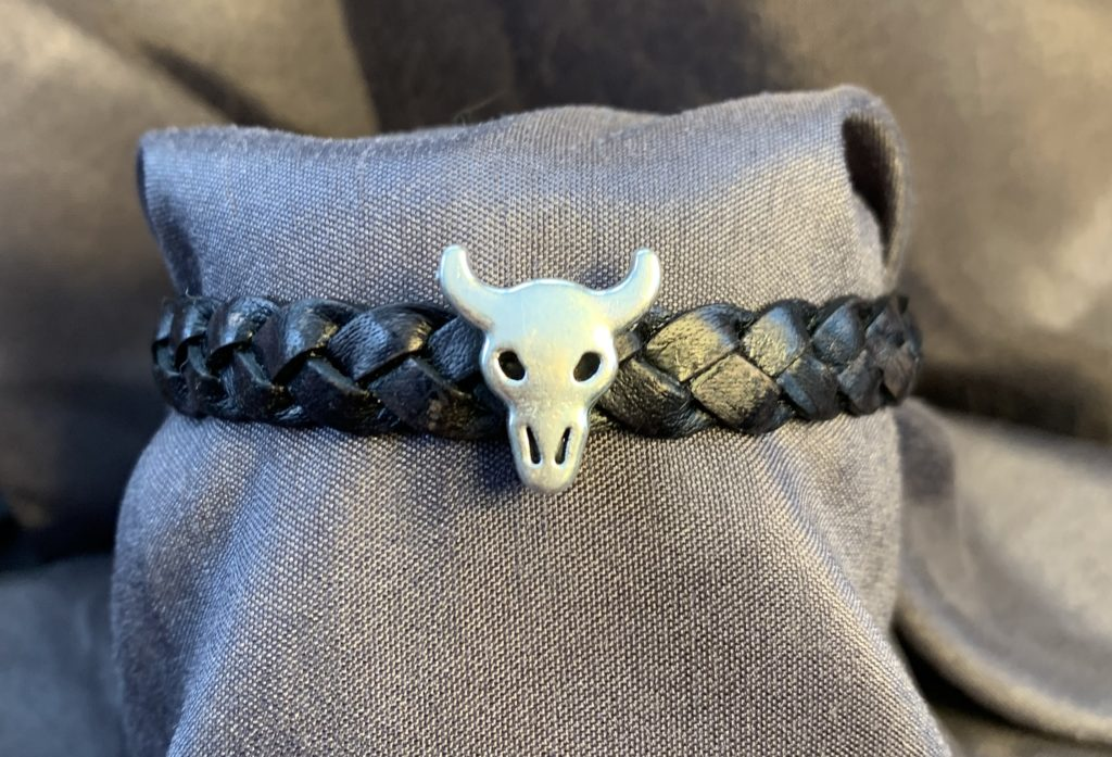 Flat Black Braided Leather Bracelet with Stainless Steel Clasp and Bull Head