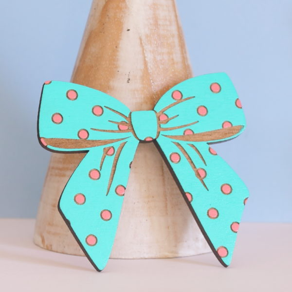 Large wooden polka dot bow brooch
