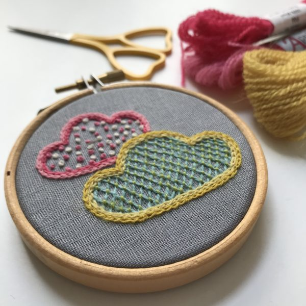 Hand embroidered cloud hoop art