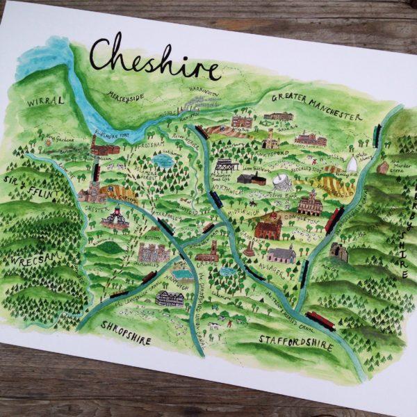 Sophias Illustration, Illustrated Map Of Cheshire