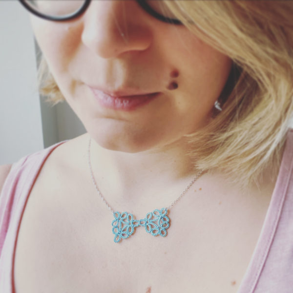 Cicee tatted bow necklace
