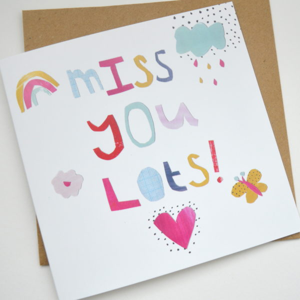 Dolly Pepper Studio, Greeting Card, Miss You Lots, Square Cards