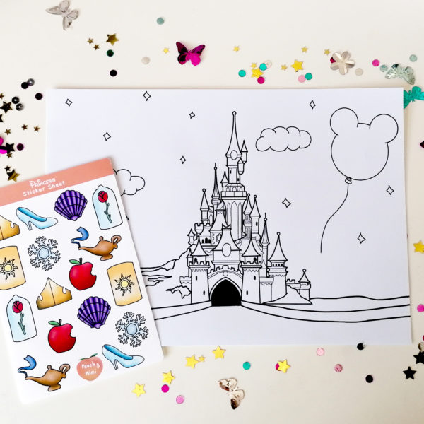 Peach and Mimi, Disney Inspired Little Box of Joy, Colouring Sheet, Sticker Sheet and Sweet Treat