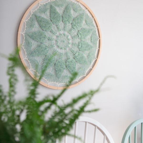 Pineapple Fibre Art, Pale mint green crochet wall art