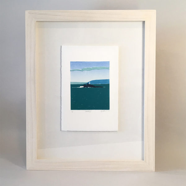 Elly Rowbotham Printmaker, HandPrinted LinoCut Edition Print of Godrevy Lighthouse in Cornwall