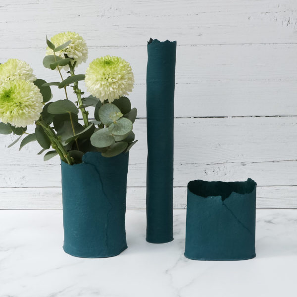 DAS Pottery | A selection of rich petrol green fine bone china vases and vessels
