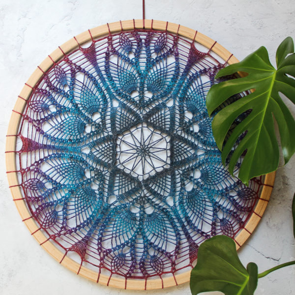 Pineapple Fibre Art, Doily hoop in purple, blue and grey