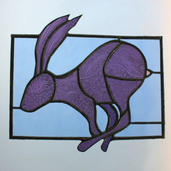 Sarah Davis Glass stained glass running hare sgraffito painted copper foiled